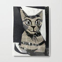 Newspaper Cat Metal Print