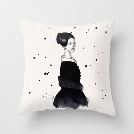 Lady in black Throw Pillow