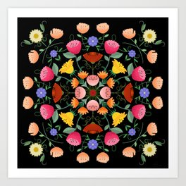 Folk Art Inspired Garden Of Fantastic Floral Delight Art Print