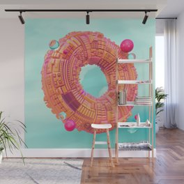 Space Donut City // 3D ABSTRACT Wall Mural