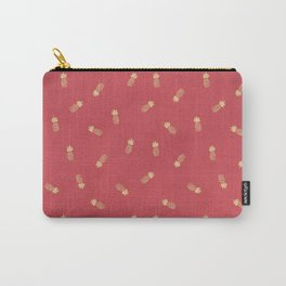 Golden pineapples on coral pink Carry-All Pouch