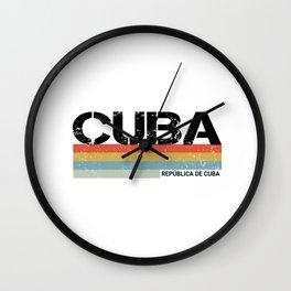 Cuba- Republica de Cuba Vintage Retro Stripes Print Wall Clock