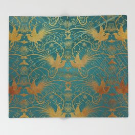 """""""Turquoise and Gold Paradise Birds"""" Throw Blanket"""
