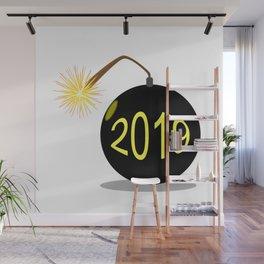 Cartoon 2019 New Year Bomb Wall Mural