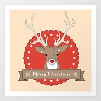 Merry Christmas Deer Art Print