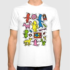 Keith Haring & Simpsons Mens Fitted Tee MEDIUM White