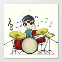 chibi Canvas Prints featuring Chibi Drummer by Jelo