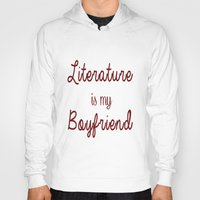 literature Hoodies featuring literature is my boyfriend red by Beautiful Bibliophile's Boutique