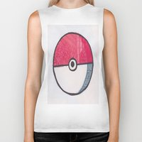 pokeball Biker Tanks featuring Pokeball Zentangle by Amanda Brooks