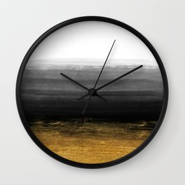 Black and Gold grunge stripes on clear white backround I - Stripes - Striped Wall Clock