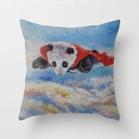 superheros Throw Pillows featuring Panda Superhero by Michael Creese