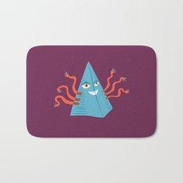 Weird Blue Pyramid Character With Tentacles Bath Mat