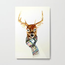 Deer buck with winter scarf - watercolor Metal Print