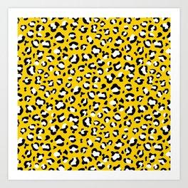 Animal Print, Spotted Leopard - Yellow Black Art Print
