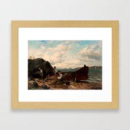 HJALMAR MUNSTERHJELM   Fishing on the beach Framed Art Print