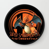 charizard Wall Clocks featuring Charizard - Super Smash Bros. by Donkey Inferno