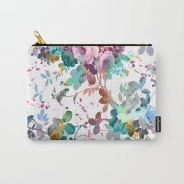 Abstract pink teal watercolor splatters floral pattern Carry-All Pouch