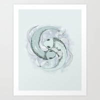 pisces Art Prints featuring Pisces by Vibeke Koehler