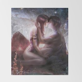 Counting stars - Romantic couple kissing Throw Blanket