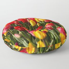 Peace, Love And Tulips Floor Pillow