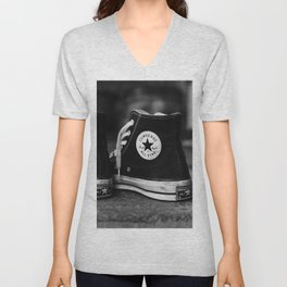 Converse Chuck Taylor All Star Classic 70 High Top Black Sneakers - 80s Symbol of U.S. Subcultures and Retro Cool Grungy Style of the Punk Rock Rebellion Era - Amazing B&W Oil painting - Unisex V-Neck