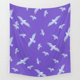 purple seagull day flight Wall Tapestry