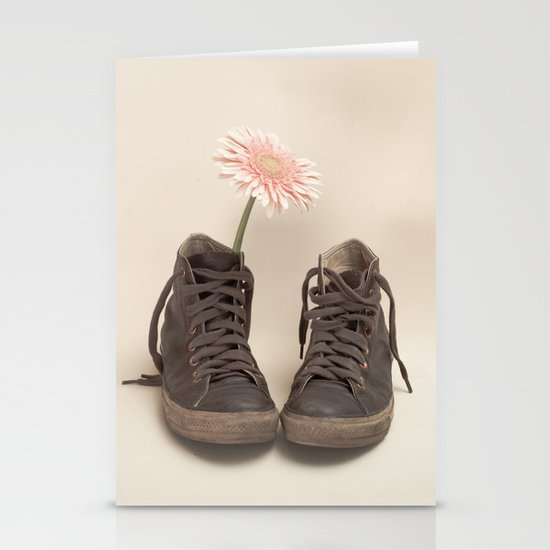 Brown Converse Boots and Pink Flower (Retro Still Life Photography)  Stationery Cards
