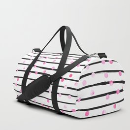 Blush pink black watercolor modern stripes polka dots Duffle Bag