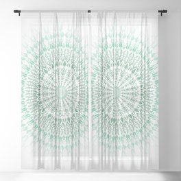 Mint White Geometric Mandala Sheer Curtain