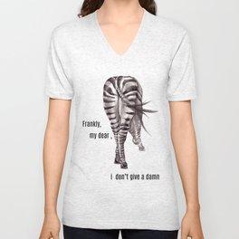 Zebra. backside Unisex V-Neck