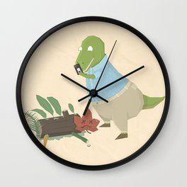 Hipster Dinosaur Instagrams his Vegan Lunch Wall Clock