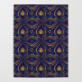 Lotus and OM symbol Luxury Pattern Poster