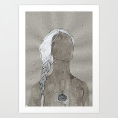 girl with silver oval telkari necklace Art Print