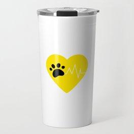 Yellow Dog Paw Heartbeat Line Dog Lover Heartbeat Travel Mug