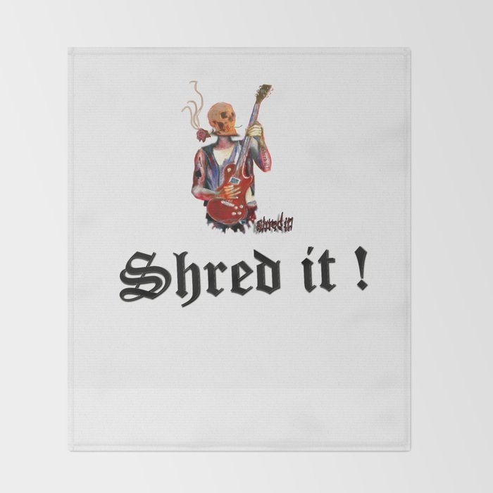 Shred it Skull guitar player  Throw Blanket