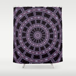 Eggplant and Pale Aubergine Kaleidoscope Pattern Shower Curtain