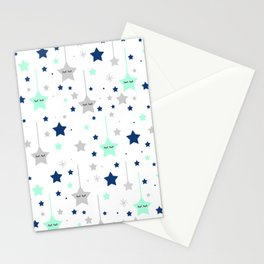 Twinkle Little Star Navy Blue Mint Green Stationery Cards