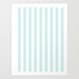 Narrow Vertical Stripes - White and Light Cyan Art Print