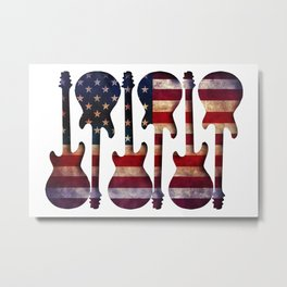 American Flag Guitar Art Metal Print