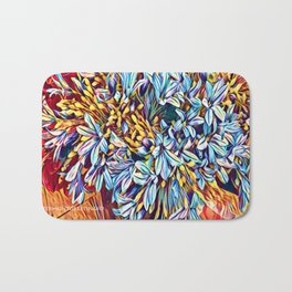 Blues Bouquet with Yellow and Red Bath Mat
