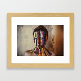 Woman With Colorful Painted Face Framed Art Print