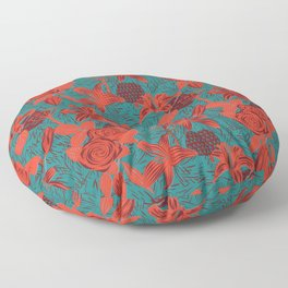 Linocut look in blue with roses Floor Pillow