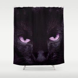 Black Cat in Amethyst - My Familiar Shower Curtain