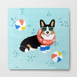 Tricolored Corgi Pool Party - cute corgi dog design pool party summer beach ball dog costume dogs Metal Print