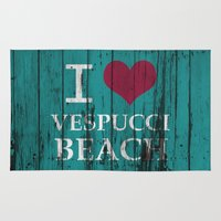 grand theft auto Area & Throw Rugs featuring Los Santos I love Vespucci Beach Grand Theft Auto by KeenaKorn
