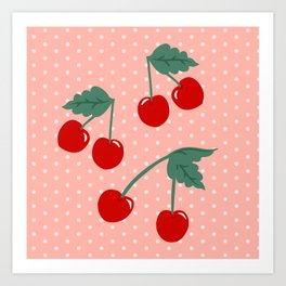 Cherry Kitsch on Pink Art Print