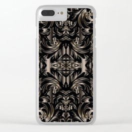Black Gold Baroque Floral Pattern Clear iPhone Case