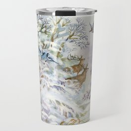 Watercolor Winter Scene Travel Mug