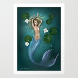 Lilys and the Mermaid Art Print