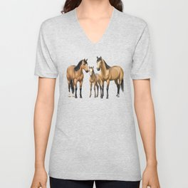 Buckskin Quarter Horses In Snow Unisex V-Neck